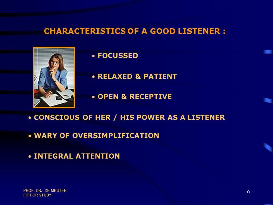 PROF.DR. DE MEUTER FIT FOR STUDY 136 COMMUNICATION LEVELS 1.