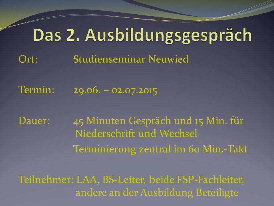 Ort: Studienseminar Neuwied Termin:29.06. – 02.07.2015 Dauer:45 Minuten Gespräch und 15 Min. für Niederschrift und Wechsel Terminierung zentral im 60