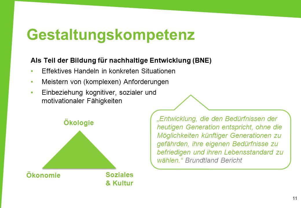 """Gestaltungskompetenz 11 """"Entwicklung, die den Bedürfnissen der heutigen Generation entspricht, ohne die Möglichkeiten künftiger Generationen zu gefähr"""