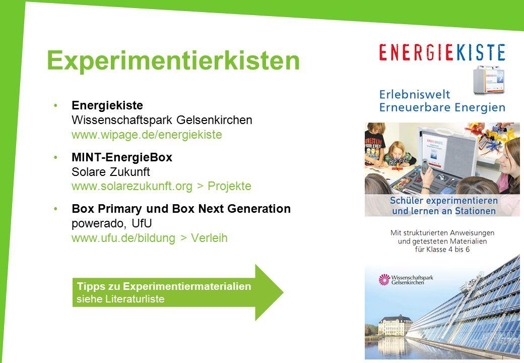 Experimentierkisten Energiekiste Wissenschaftspark Gelsenkirchen www.wipage.de/energiekiste MINT-EnergieBox Solare Zukunft www.solarezukunft.org > Pro