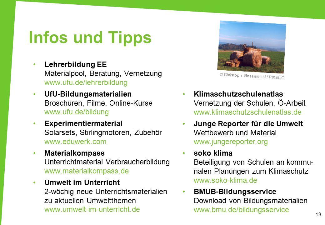 18 Infos und Tipps Lehrerbildung EE Materialpool, Beratung, Vernetzung www.ufu.de/lehrerbildung UfU-Bildungsmaterialien Broschüren, Filme, Online-Kurs