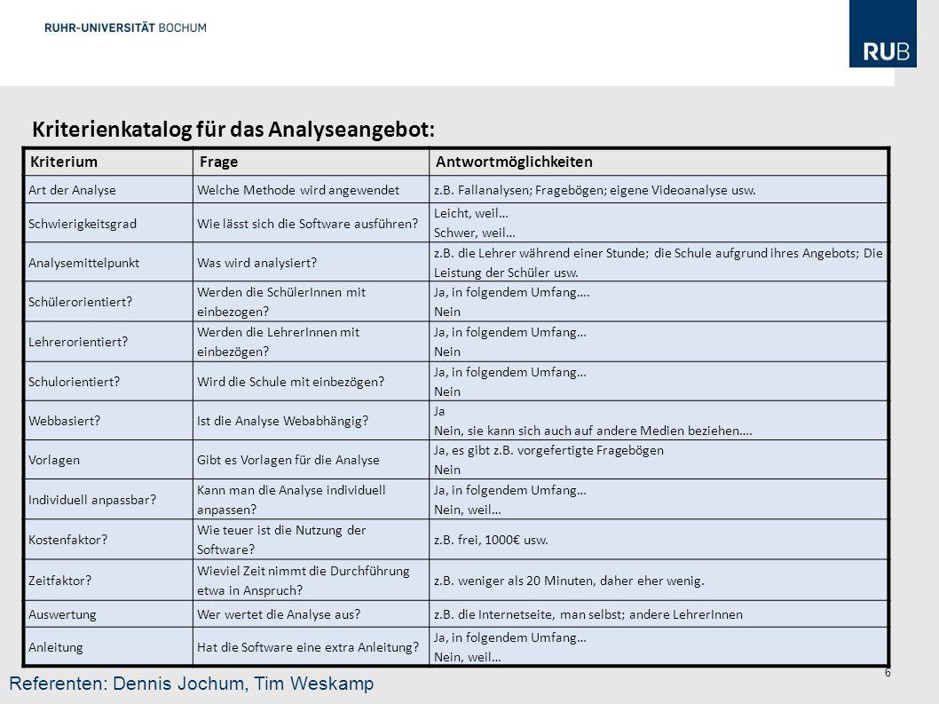 6 KriteriumFrageAntwortmöglichkeiten Art der AnalyseWelche Methode wird angewendetz.B.