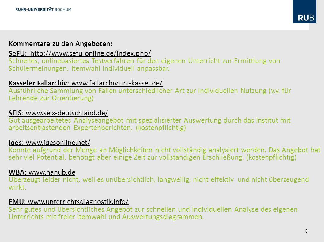 8 Kommentare zu den Angeboten: SeFU: http://www.sefu-online.de/index.php/ Schnelles, onlinebasiertes Testverfahren für den eigenen Unterricht zur Ermittlung von Schülermeinungen.
