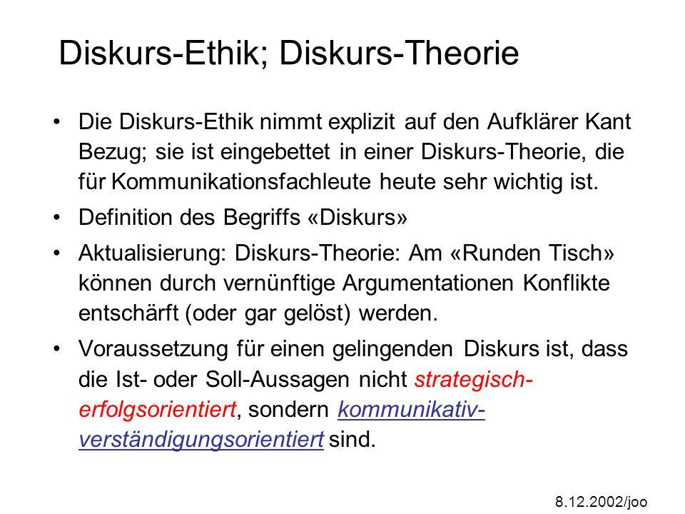 8.12.2002/joo Aktualisierung des Universalisierungs- prinzips Im «kategorischen Imperativ» von Kant kommt – ähnlich wie in der sog.