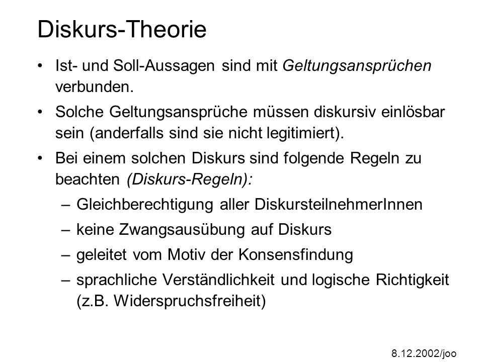 8.12.2002/joo Diskurs-Ethik; Diskurs-Theorie Die Diskurs-Ethik nimmt explizit auf den Aufklärer Kant Bezug; sie ist eingebettet in einer Diskurs-Theorie, die für Kommunikationsfachleute heute sehr wichtig ist.