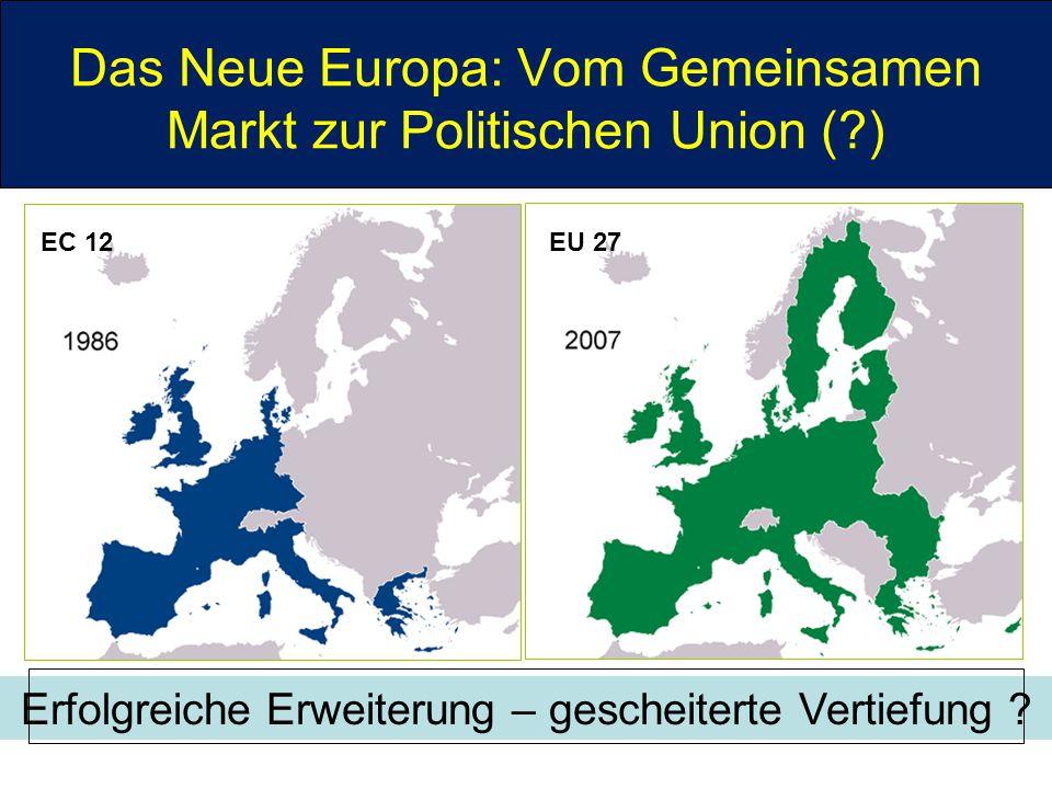 Das Neue Europa: Vom Gemeinsamen Markt zur Politischen Union (?) EC 12EU 27 Erfolgreiche Erweiterung – gescheiterte Vertiefung ?