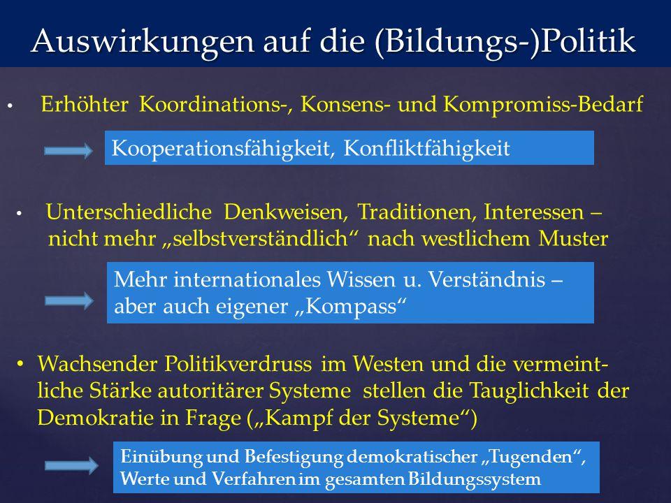 Auswirkungen auf die (Bildungs-)Politik Auswirkungen auf die (Bildungs-)Politik Erhöhter Koordinations-, Konsens- und Kompromiss-Bedarf Kooperationsfä