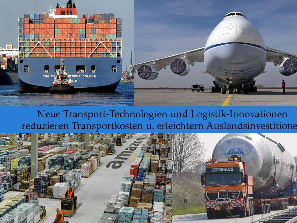 Neue Transport-Technologien und Logistik-Innovationen reduzieren Transportkosten u. erleichtern Auslandsinvestitionen