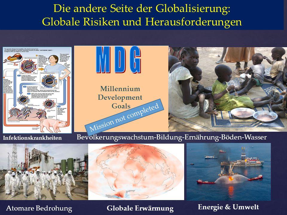 Millennium Development Goals Globale Erwärmung Energie & Umwelt Foto: BP Foto: Wikipedia Infektionskrankheiten Die andere Seite der Globalisierung: Gl