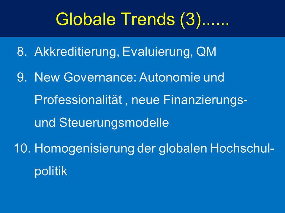 Globale Trends (3)...... 8. Akkreditierung, Evaluierung, QM 9. New Governance: Autonomie und Professionalität, neue Finanzierungs- und Steuerungsmodel