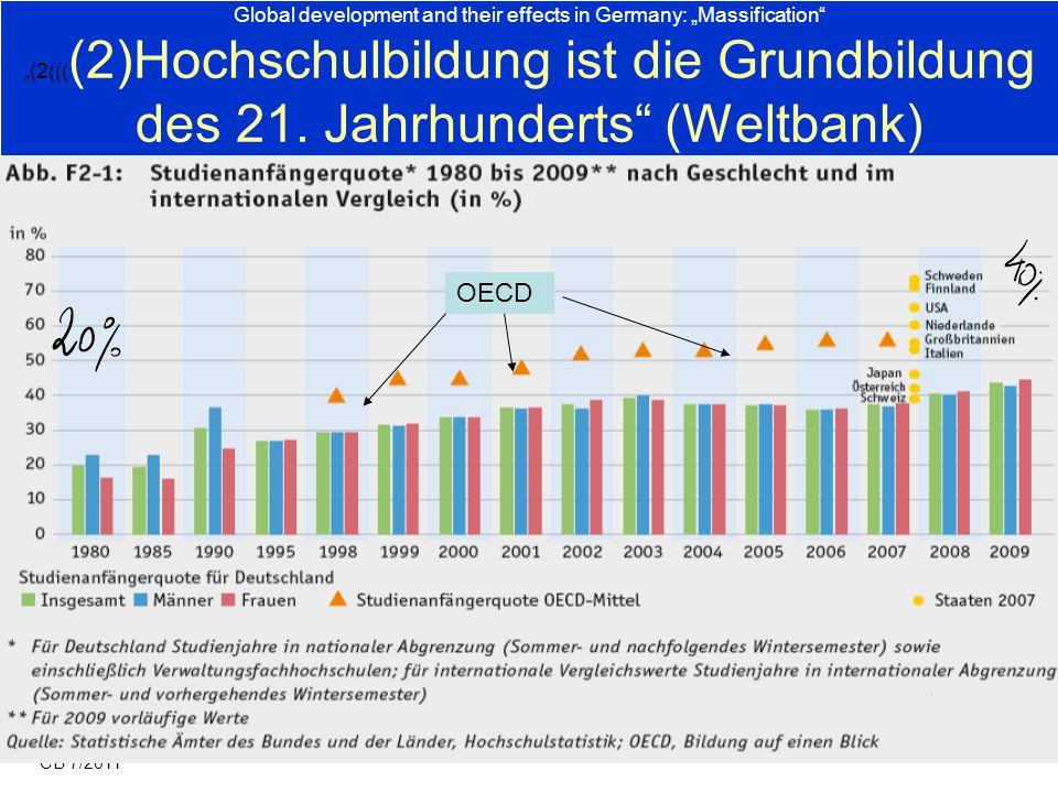 """Global development and their effects in Germany: """"Massification"""" """"(2((( (2)Hochschulbildung ist die Grundbildung des 21. Jahrhunderts"""" (Weltbank) CB 7"""