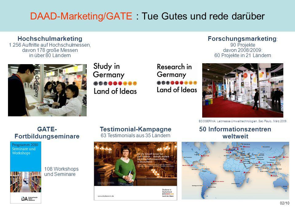 DAAD-Marketing/GATE : Tue Gutes und rede darüber Hochschulmarketing 1.256 Auftritte auf Hochschulmessen, davon 178 große Messen in über 80 Ländern 50