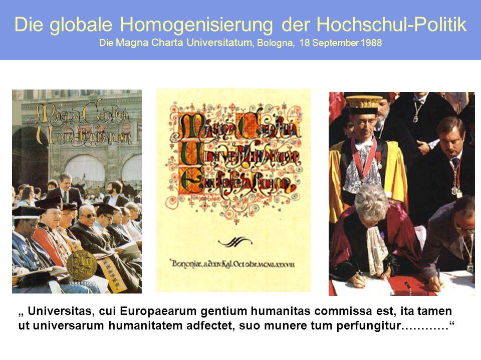 """Die globale Homogenisierung der Hochschul-Politik Die Magna Charta Universitatum, Bologna, 18 September 1988 """" Universitas, cui Europaearum gentium hu"""