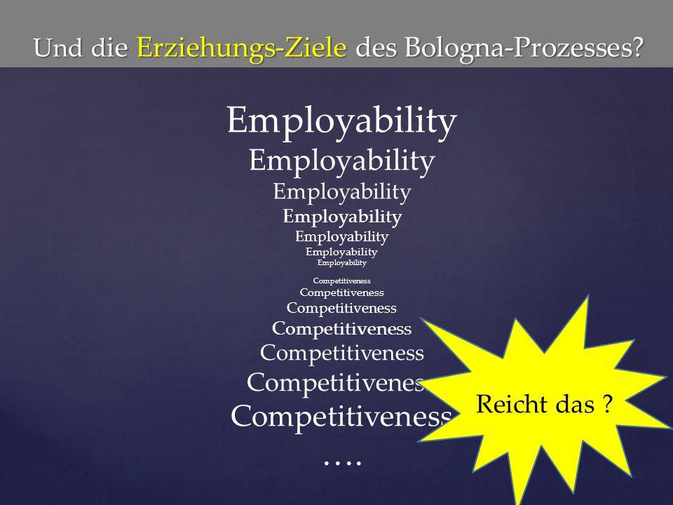 Und d ie Erziehungs-Ziele des Bologna-Prozesses? Und d ie Erziehungs-Ziele des Bologna-Prozesses? EmployabilityEmployability Competitiveness …. Reicht