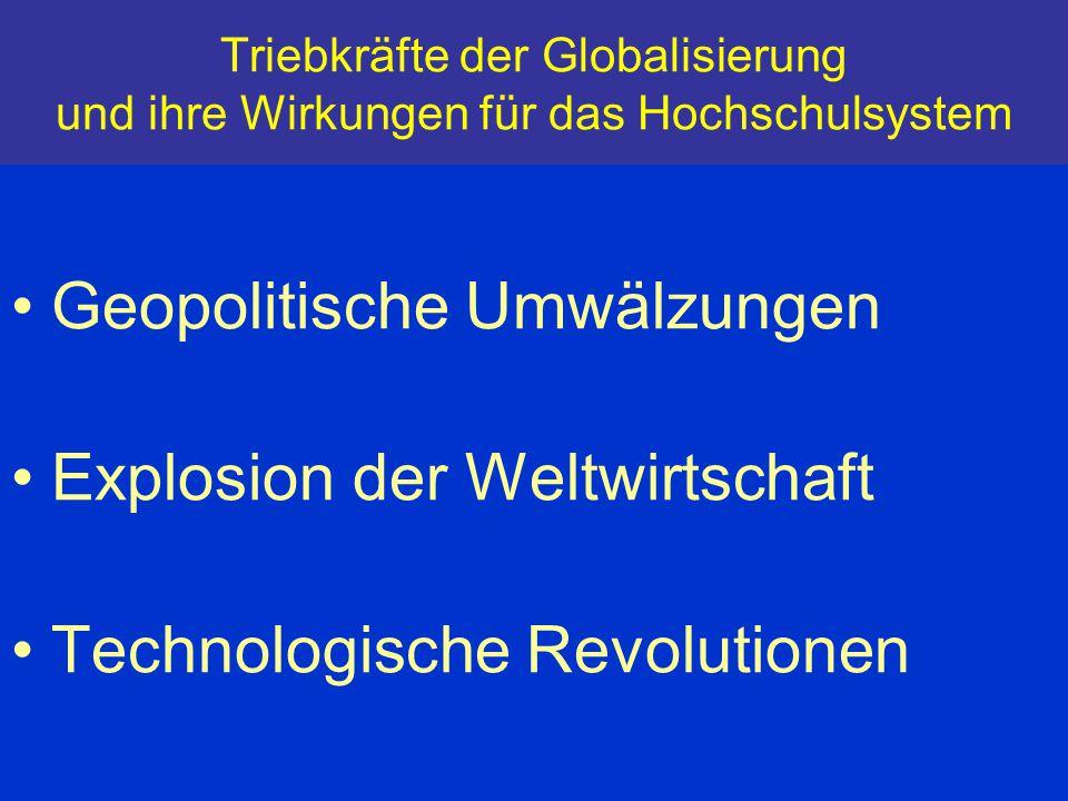 Triebkräfte der Globalisierung und ihre Wirkungen für das Hochschulsystem Geopolitische Umwälzungen Explosion der Weltwirtschaft Technologische Revolu