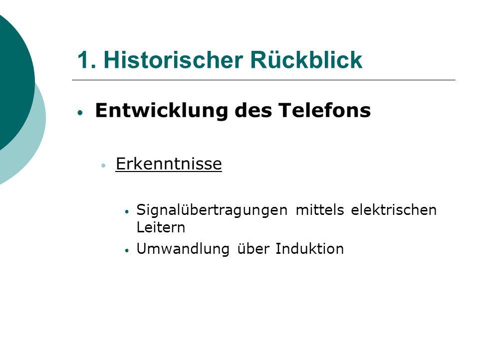 1. Historischer Rückblick Entwicklung des Telefons Erkenntnisse Signalübertragungen mittels elektrischen Leitern Umwandlung über Induktion