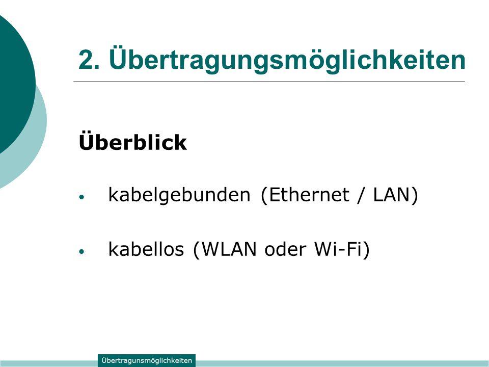 2. Übertragungsmöglichkeiten Überblick kabelgebunden (Ethernet / LAN) kabellos (WLAN oder Wi-Fi)