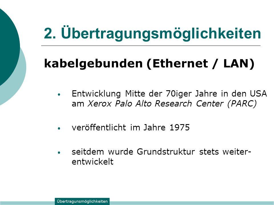 2. Übertragungsmöglichkeiten kabelgebunden (Ethernet / LAN) Entwicklung Mitte der 70iger Jahre in den USA am Xerox Palo Alto Research Center (PARC) ve
