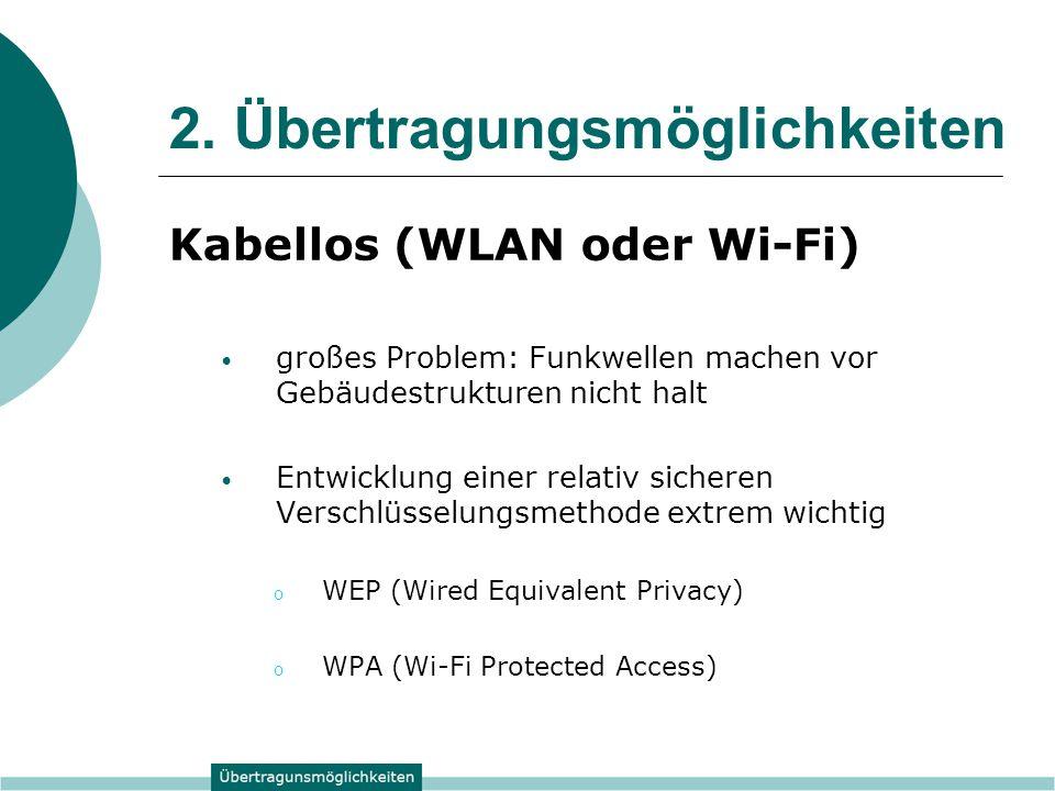 2. Übertragungsmöglichkeiten Kabellos (WLAN oder Wi-Fi) großes Problem: Funkwellen machen vor Gebäudestrukturen nicht halt Entwicklung einer relativ s