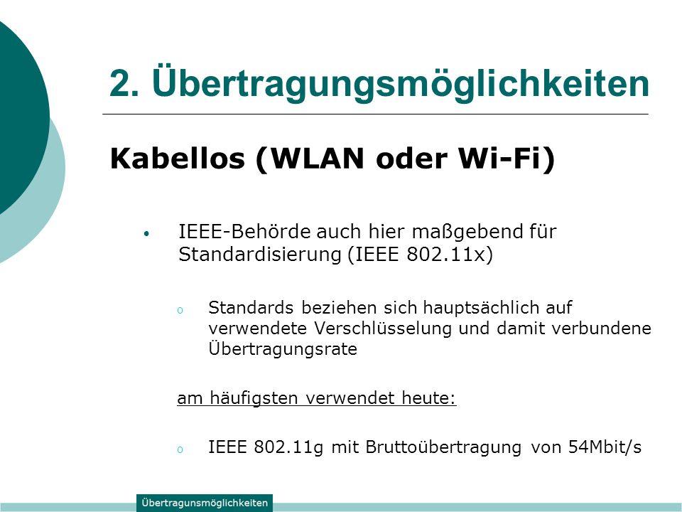 2. Übertragungsmöglichkeiten Kabellos (WLAN oder Wi-Fi) IEEE-Behörde auch hier maßgebend für Standardisierung (IEEE 802.11x) o Standards beziehen sich