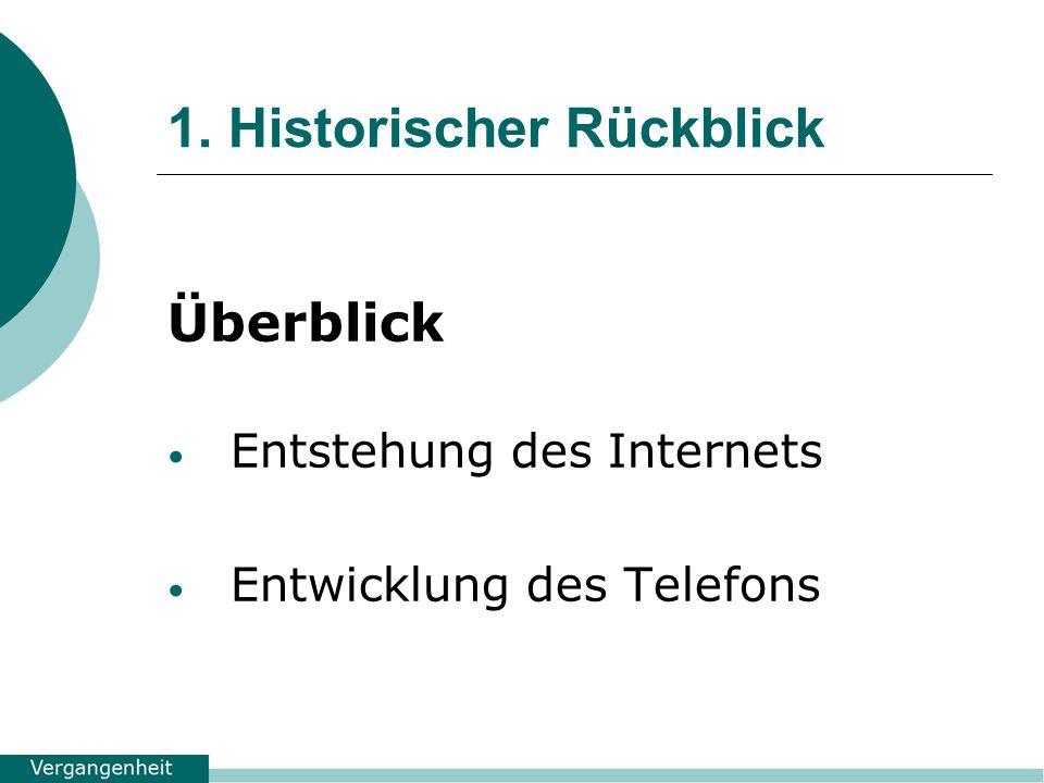 1. Historischer Rückblick Überblick Entstehung des Internets Entwicklung des Telefons