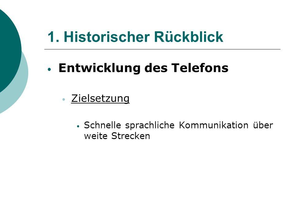 1. Historischer Rückblick Entwicklung des Telefons Zielsetzung Schnelle sprachliche Kommunikation über weite Strecken