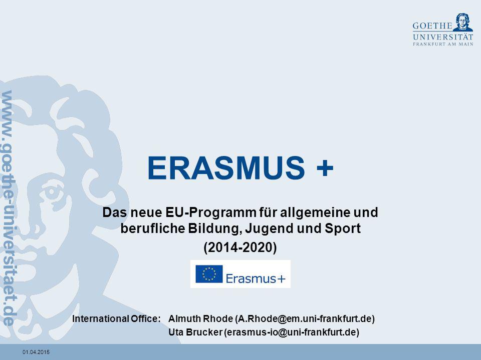 01.04.2015 ERASMUS + Das neue EU-Programm für allgemeine und berufliche Bildung, Jugend und Sport (2014-2020) International Office: Almuth Rhode (A.Rh