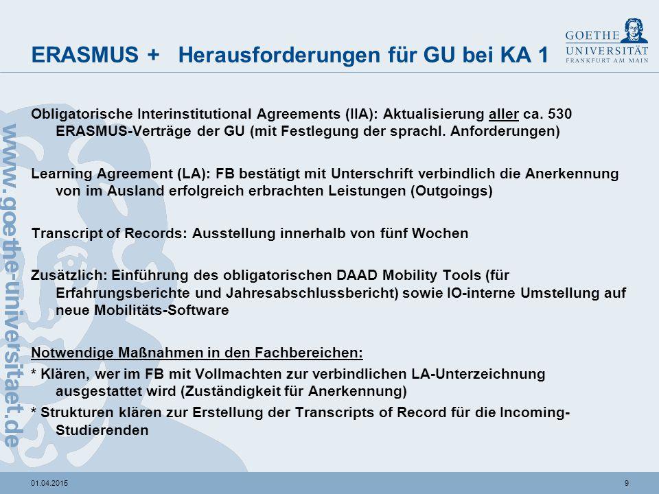 901.04.2015 ERASMUS + Herausforderungen für GU bei KA 1 Obligatorische Interinstitutional Agreements (IIA): Aktualisierung aller ca. 530 ERASMUS-Vertr