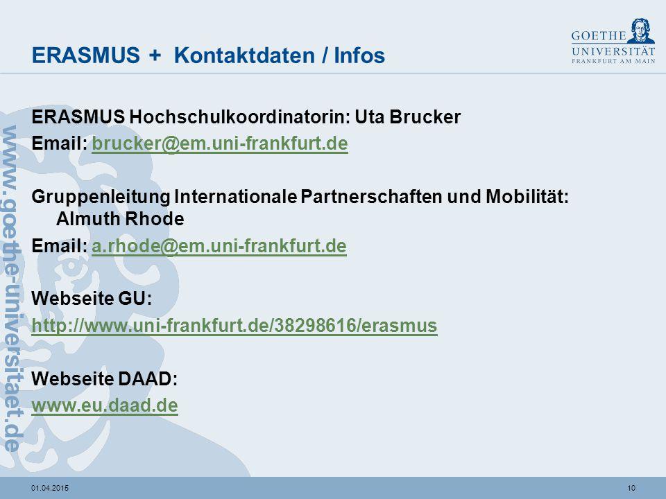 1001.04.2015 ERASMUS + Kontaktdaten / Infos ERASMUS Hochschulkoordinatorin: Uta Brucker Email: brucker@em.uni-frankfurt.debrucker@em.uni-frankfurt.de