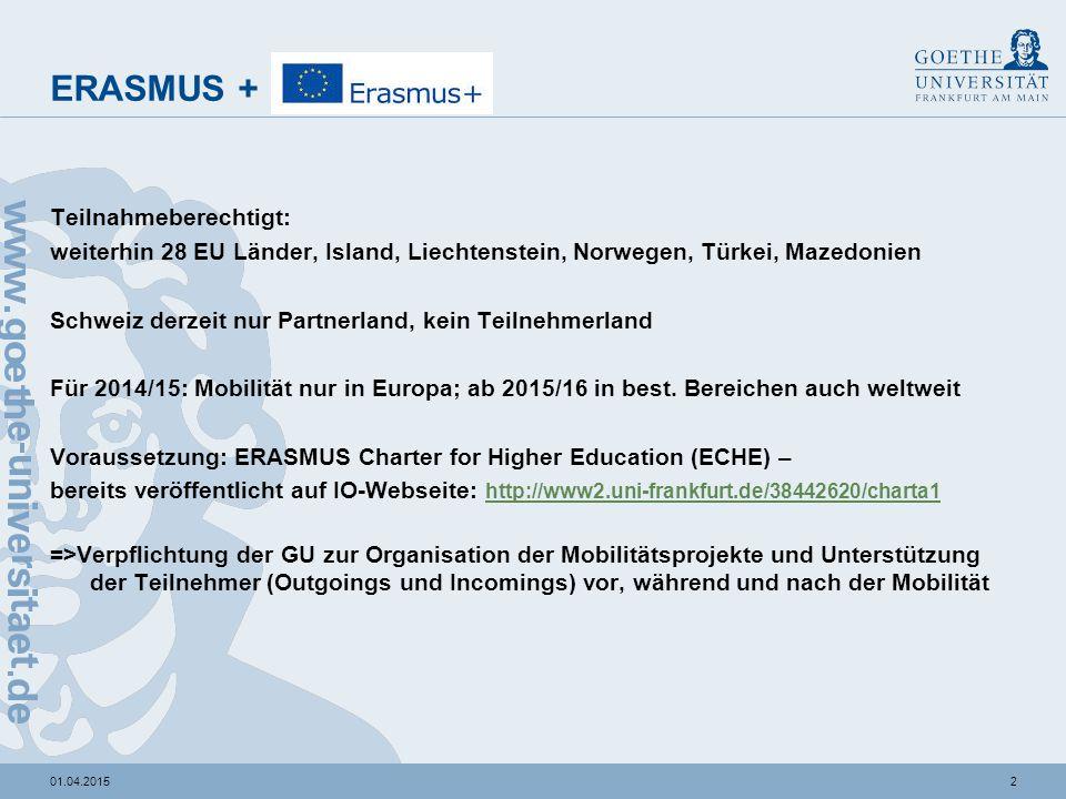 201.04.2015 ERASMUS + Teilnahmeberechtigt: weiterhin 28 EU Länder, Island, Liechtenstein, Norwegen, Türkei, Mazedonien Schweiz derzeit nur Partnerland