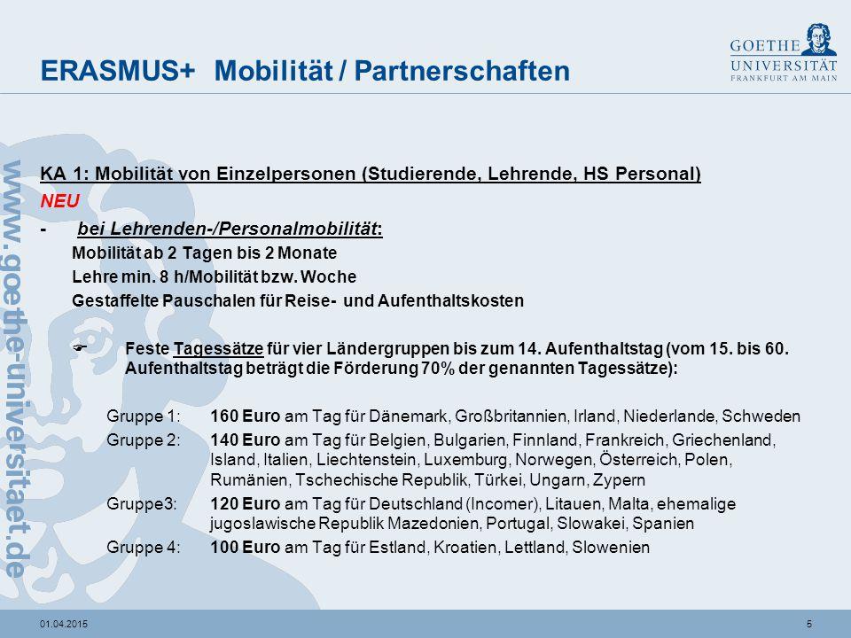 501.04.2015 ERASMUS+ Mobilität / Partnerschaften KA 1: Mobilität von Einzelpersonen (Studierende, Lehrende, HS Personal) NEU - bei Lehrenden-/Personal