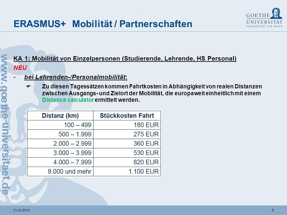 601.04.2015 ERASMUS+ Mobilität / Partnerschaften KA 1: Mobilität von Einzelpersonen (Studierende, Lehrende, HS Personal) NEU -bei Lehrenden-/Personalm