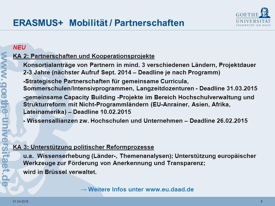 801.04.2015 ERASMUS+ Mobilität / Partnerschaften NEU KA 2: Partnerschaften und Kooperationsprojekte Konsortialanträge von Partnern in mind. 3 verschie
