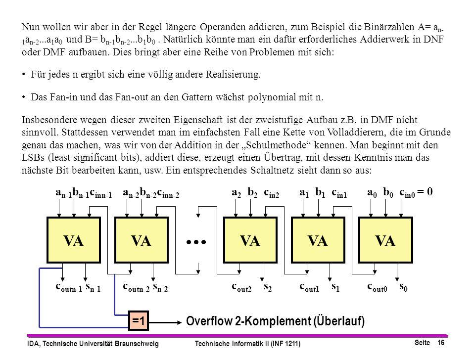 Seite 16 IDA, Technische Universität BraunschweigTechnische Informatik II (INF 1211) Nun wollen wir aber in der Regel längere Operanden addieren, zum