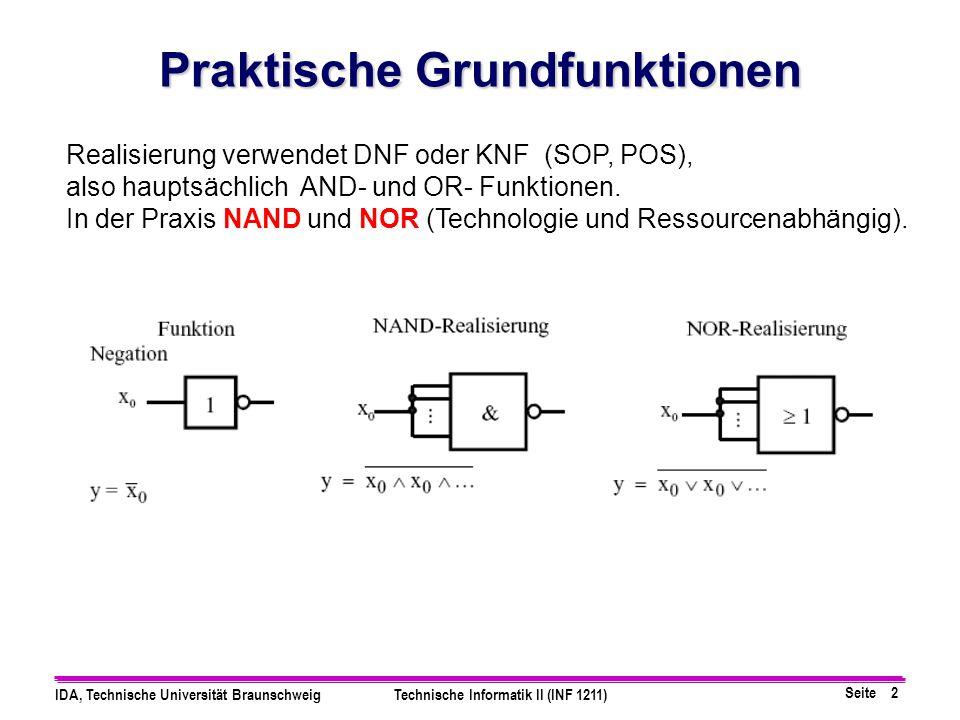 Seite 2 IDA, Technische Universität BraunschweigTechnische Informatik II (INF 1211) Realisierung verwendet DNF oder KNF (SOP, POS), also hauptsächlich