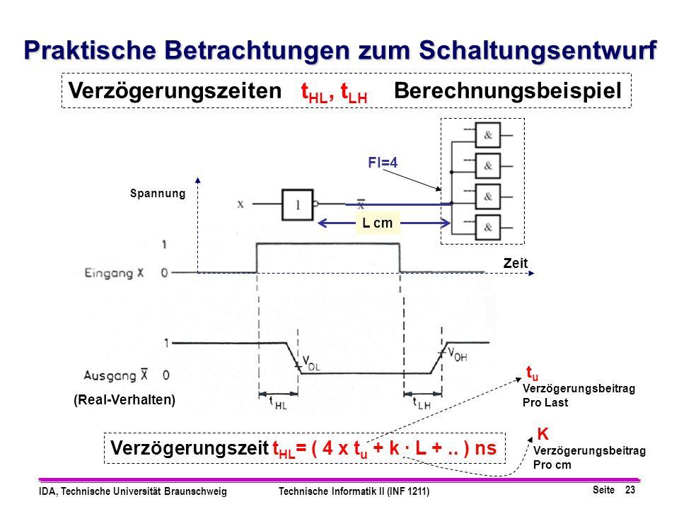 Seite 23 IDA, Technische Universität BraunschweigTechnische Informatik II (INF 1211) Praktische Betrachtungen zum Schaltungsentwurf Verzögerungszeiten