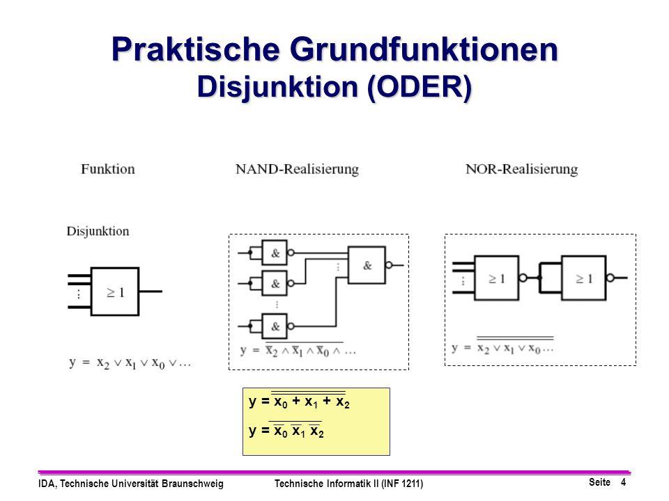 Seite 4 IDA, Technische Universität BraunschweigTechnische Informatik II (INF 1211) Praktische Grundfunktionen Disjunktion (ODER) y = x 0 + x 1 + x 2