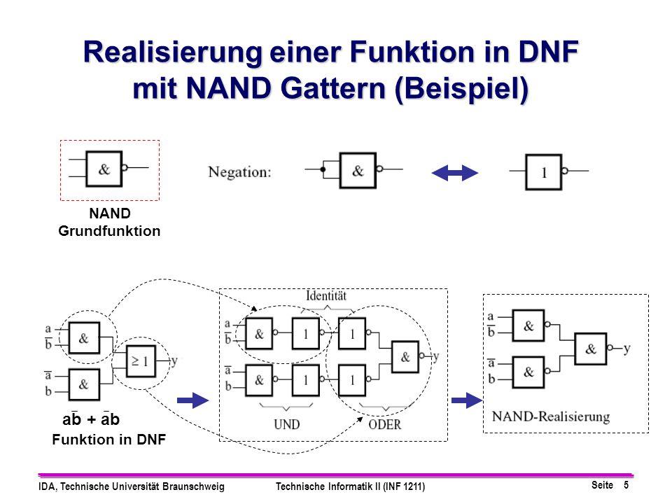 Seite 5 IDA, Technische Universität BraunschweigTechnische Informatik II (INF 1211) Realisierung einer Funktion in DNF mit NAND Gattern (Beispiel) NAN