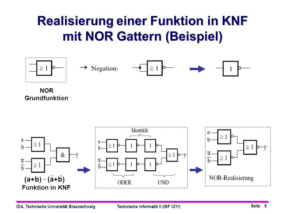 Seite 6 IDA, Technische Universität BraunschweigTechnische Informatik II (INF 1211) Realisierung einer Funktion in KNF mit NOR Gattern (Beispiel) NOR