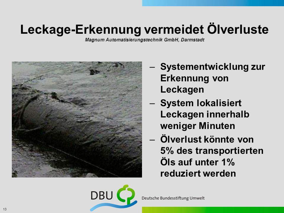 13 Leckage-Erkennung vermeidet Ölverluste Magnum Automatisierungstechnik GmbH, Darmstadt –Systementwicklung zur Erkennung von Leckagen –System lokalisiert Leckagen innerhalb weniger Minuten –Ölverlust könnte von 5% des transportierten Öls auf unter 1% reduziert werden