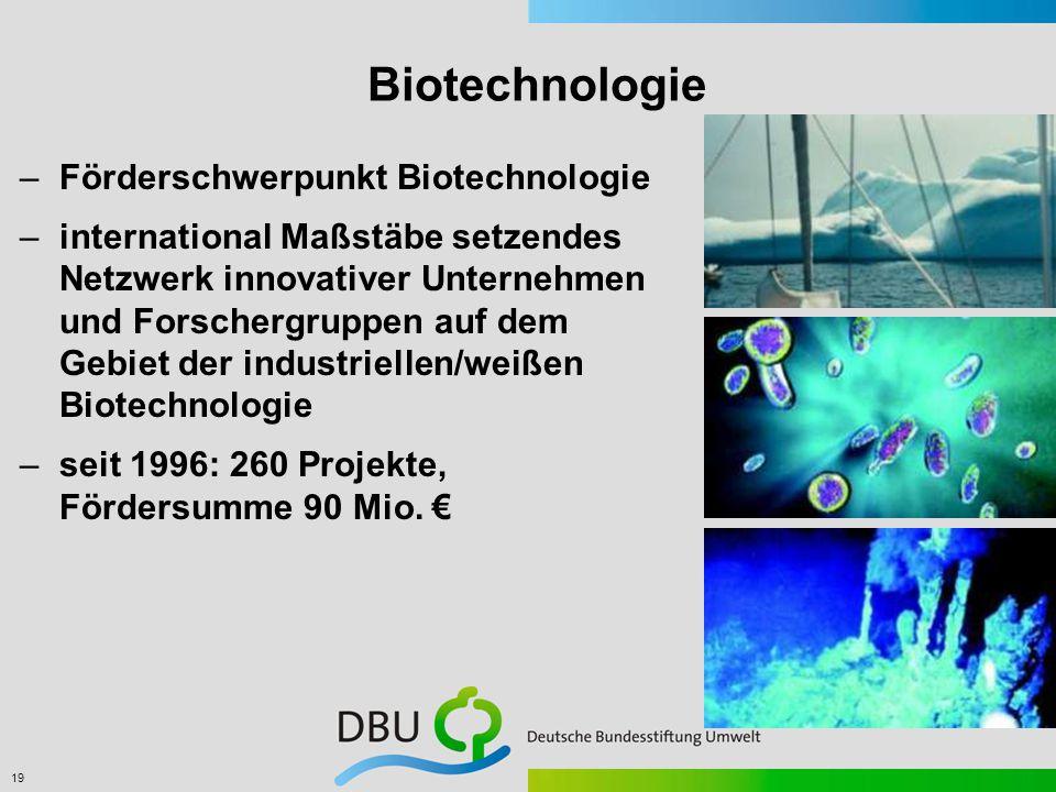 19 Biotechnologie –Förderschwerpunkt Biotechnologie –international Maßstäbe setzendes Netzwerk innovativer Unternehmen und Forschergruppen auf dem Gebiet der industriellen/weißen Biotechnologie –seit 1996: 260 Projekte, Fördersumme 90 Mio.