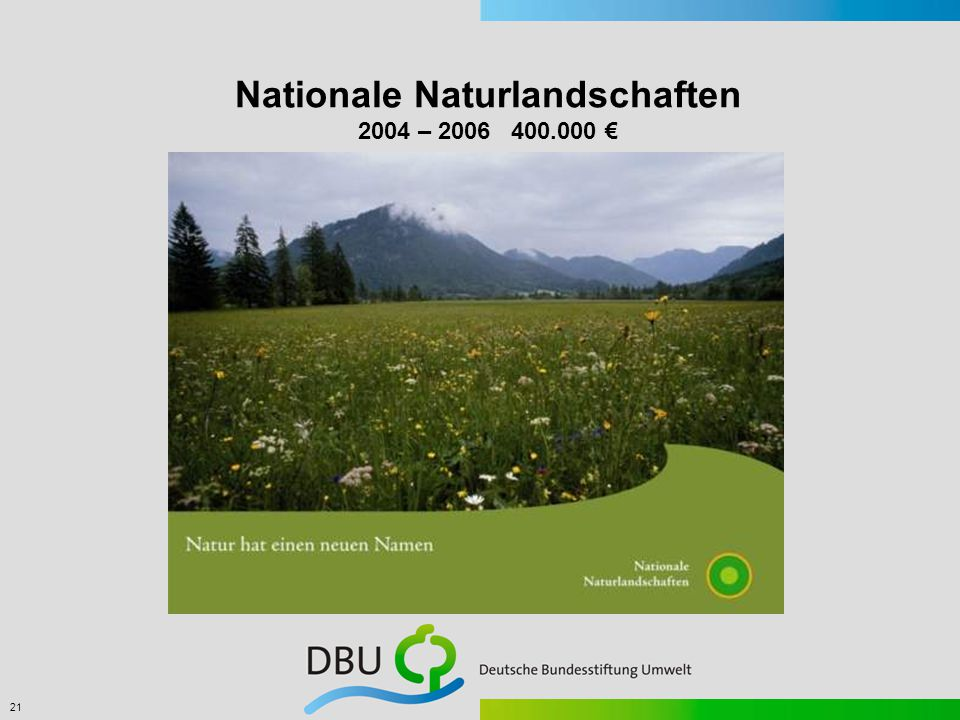 21 Nationale Naturlandschaften 2004 – 2006 400.000 €