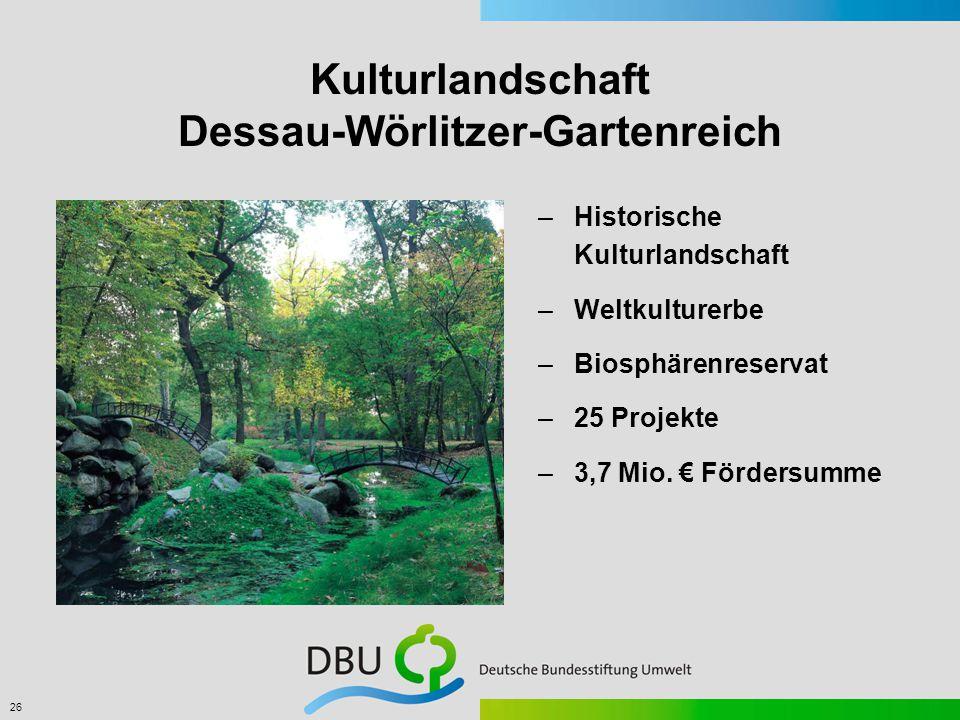 26 Kulturlandschaft Dessau-Wörlitzer-Gartenreich –Historische Kulturlandschaft –Weltkulturerbe –Biosphärenreservat –25 Projekte –3,7 Mio.