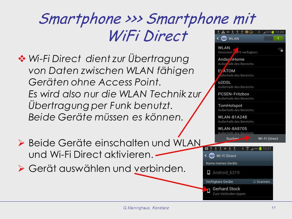 Smartphone >>> Smartphone mit WiFi Direct  Wi-Fi Direct dient zur Übertragung von Daten zwischen WLAN fähigen Geräten ohne Access Point. Es wird also