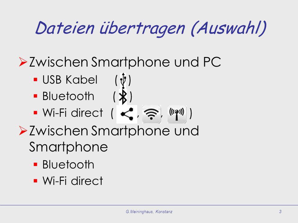Dateien übertragen (Auswahl)  Zwischen Smartphone und PC  USB Kabel ( )  Bluetooth ( )  Wi-Fi direct (, ), )  Zwischen Smartphone und Smartphone