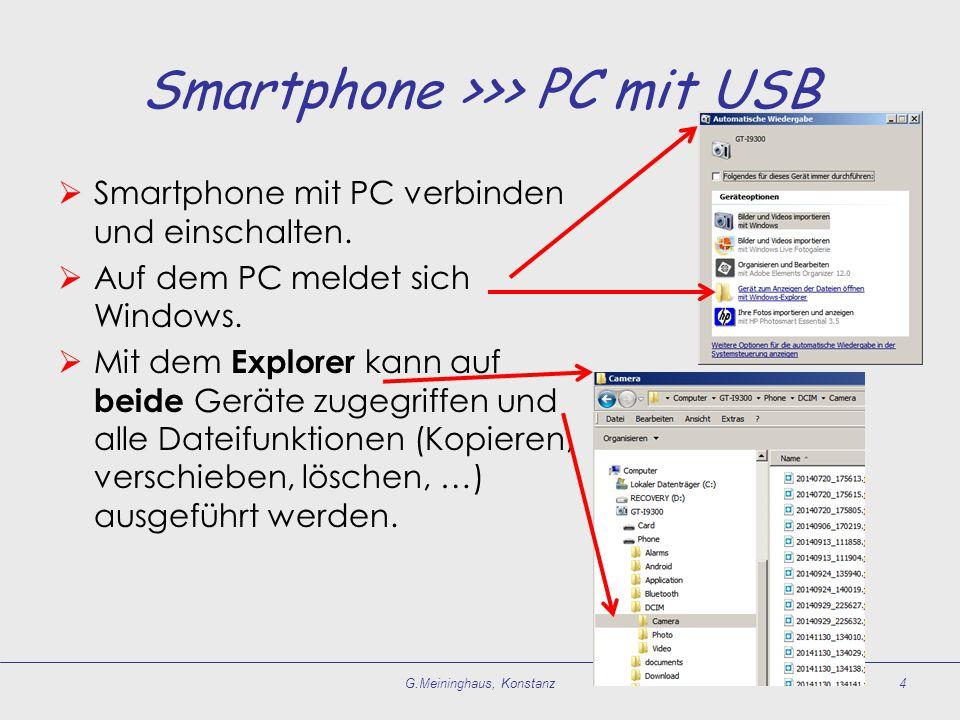 Smartphone >>> PC mit USB  Smartphone mit PC verbinden und einschalten.  Auf dem PC meldet sich Windows.  Mit dem Explorer kann auf beide Geräte zu