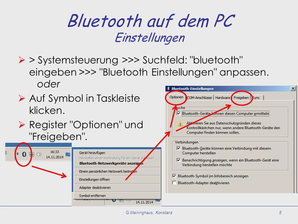  Gerät einschalten, Bluetooth aktivieren. Sichtbarkeit herstellen.