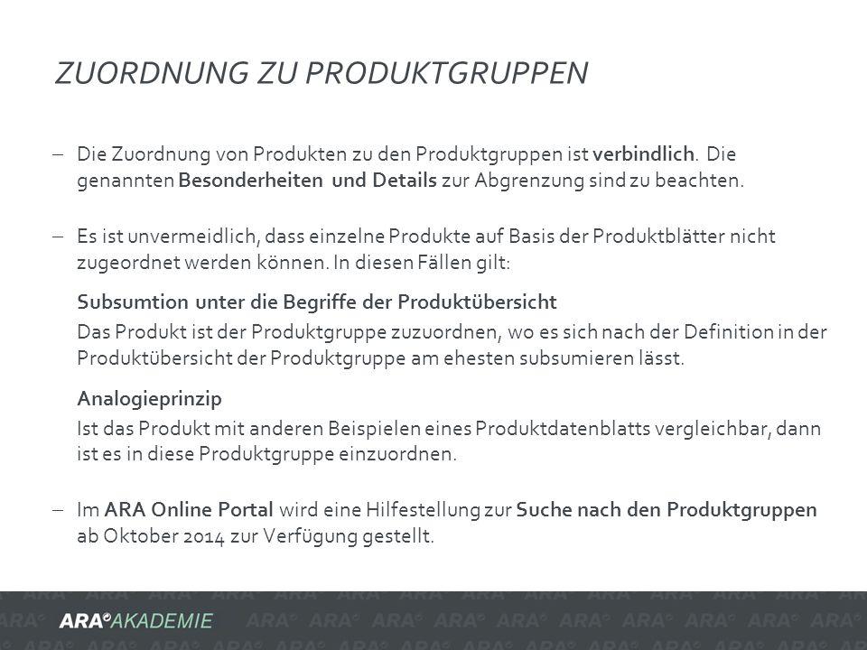 ZUORDNUNG ZU PRODUKTGRUPPEN  Die Zuordnung von Produkten zu den Produktgruppen ist verbindlich. Die genannten Besonderheiten und Details zur Abgrenzu