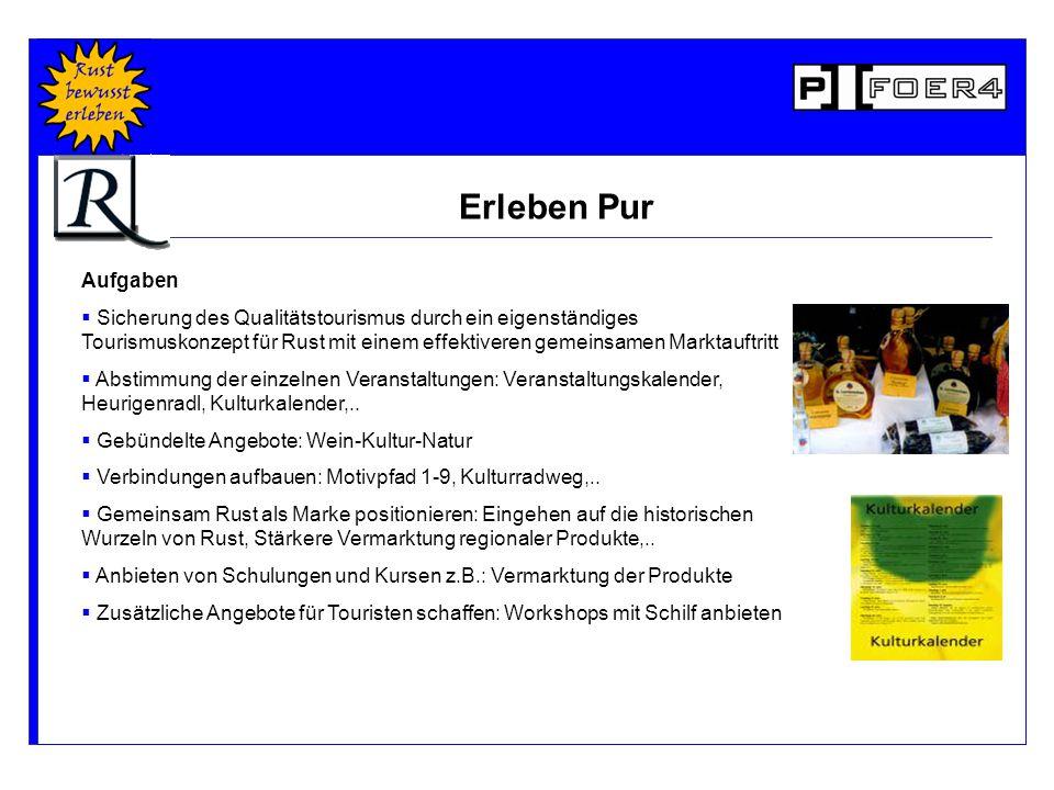 Aufgaben  Sicherung des Qualitätstourismus durch ein eigenständiges Tourismuskonzept für Rust mit einem effektiveren gemeinsamen Marktauftritt  Abstimmung der einzelnen Veranstaltungen: Veranstaltungskalender, Heurigenradl, Kulturkalender,..