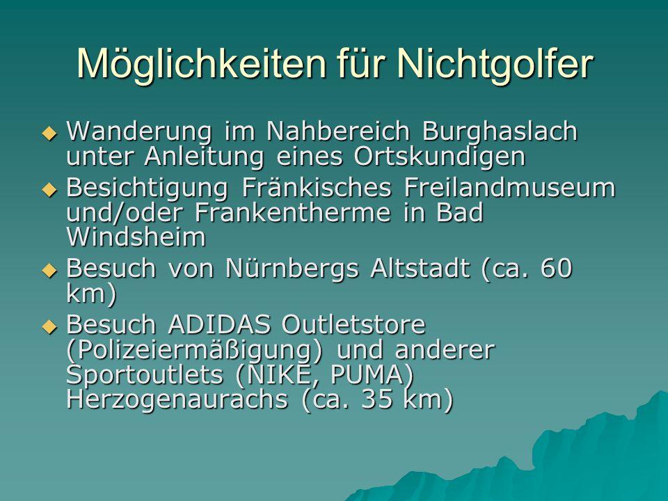 Möglichkeiten für Nichtgolfer  Wanderung im Nahbereich Burghaslach unter Anleitung eines Ortskundigen  Besichtigung Fränkisches Freilandmuseum und/oder Frankentherme in Bad Windsheim  Besuch von Nürnbergs Altstadt (ca.